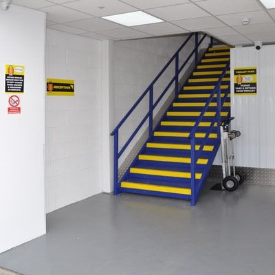 Securus self storage entrance stairway